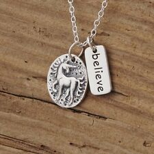 Sterling Silver Unicorn Ancient Coin Believe Charm Pendant Necklace