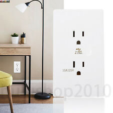 US Plug 15A Home Wall Electric Charger Universal Socket Outlet 110-250V Plate HU