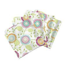Floral Roses Multi Color Cotton Dinner Napkins by Roostery Set of 4