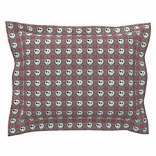 Geometric Embroidery Emo Punk Goth Halloween Skull Pillow Sham by Roostery
