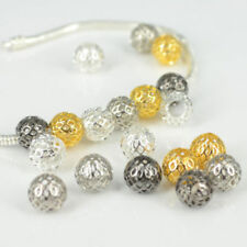 Wholesale Alloy Round Mesh Ball Charms Beads Jewelry Findings Fit DIY Bracelets