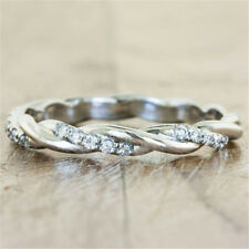 White Topaz 925 Silver Women Jewelry Wedding Engagement Ring Gift Sz 5-10