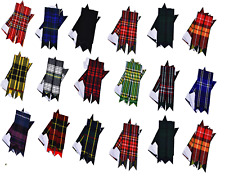 Men Tartan Kilt Flashes, Highland Kilt Hose, Sporran Kilt Pin (Pair) 16 Tartans