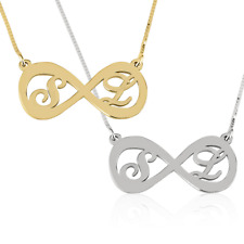 Two Initial Infinity Necklace - Personalized Eternity Necklace - Silver / Gold