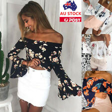 Women Off Shoulder Floral Shirt Ladies Flared Sleeve Casual Crop Tops Blouse Tee