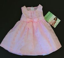 Baby Girl Bonnie Jean Gingham Eyelet Pink Dress NWT Size 12,  24 Months