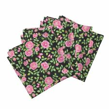 Watercolor Roses Leaves Floral Cotton Dinner Napkins by Roostery Set of 4