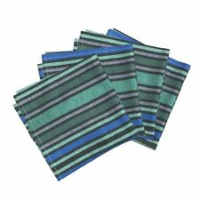 Sea Blue Teal Moire Silk Victorian Cotton Dinner Napkins by Roostery Set of 4