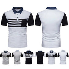 New Fashion Men Casual Stripe T-Shirts Slim Fit Short Sleeve POLO Shirt Tops