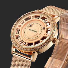 TC Women's Lady Diamond Crystal Bling Braided Steel Analog Quartz Wrist Watch