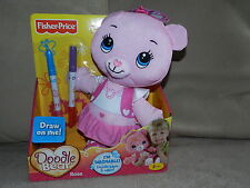 NIB Fisher Price DOODLE BEAR ROSE Plush Toy Pink Washable Reusable Markers NEW