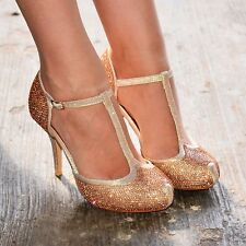 Ladies Diamante High Heels T-bar Ballroom Smart Prom Evening Party Holiday Shoes