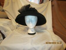 WOMEN'S VINTAGE DEBORAH FASHIONS FANCY WOOL BLACK  DERBY HAT CHURCH HAT