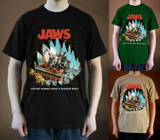 JAWS Movie Poster ver. 2 Steven Spielberg Roy Scheider T-Shirt (Black) S-5XL