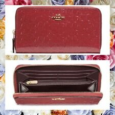 MOTHERS DAY COACH Debossed Signature Patent Leather Accordion Zip Wallet DRK RED