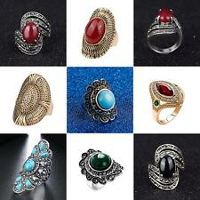 Women Inlaid Artificial Gemstone Finger Ring Vintage Party Jewelry Gift Noted