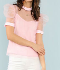 Pink Puff Sleeve Sheer Mesh Stand Collar Elegant Blouse Top With Cami Casual