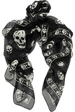 Alexander McQueen Scarf Black with White Skull NEW W TAGS