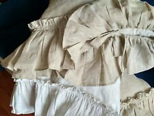 Linen Pillowcase/Ruffles/with Ties /Queen King /White Natural Gray Brow Green