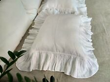 LINEN PILLOWCASE Envelope Closure with Ruffles around/ all sizes/FLAX BEDDING