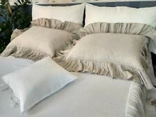 Linen pillowcase/pre Washed/Envelope/with Ruffles around/all sizes/Green Brown