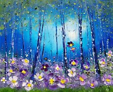Misty Forest & Meadow Flowers, large colourful, original oil painting Phil Broad