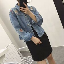 Women's Embroidered Loose Jacket Casual Oversize Denim Jeans Coat Outwear