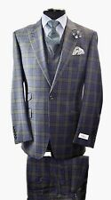 Tiglio Rosso Navy Blue with Green Plaid  3pc Italian Wool Suit Msrp$499.95