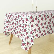 Tablecloth Strawberry Summer Fruit Strawberries Pink Sweet Cotton Sateen