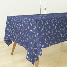 Tablecloth Scroll Navy White Leaves Vine Textured Cotton Sateen