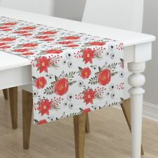 Table Runner Holidays Christmas Christmas Floral Poinsettia Red Cotton Sateen