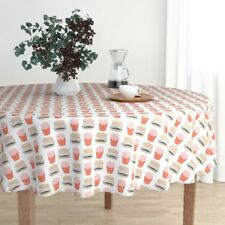 Round Tablecloth Burger Hamburger Cheeseburger French Fries Fast Cotton Sateen