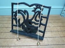 Black Cast Iron Cockerel Cooking Cook Book Stand