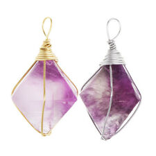 1x Natural Crystal Amethyst Stone Pendant Chains Necklace for Jewelry Making
