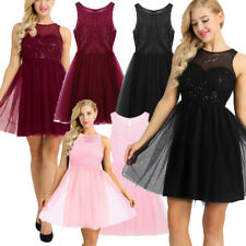 Women Sequin Bridesmaid Formal Short Dress Gown Maxi Party Cocktail Evening Prom