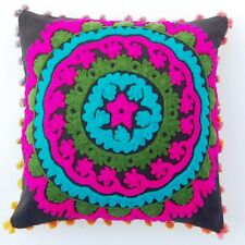 "POM POM SUZANI PILLOW CASES EMBROIDERED 16"" SQUARE SUZANI CUSHION PILLOW COVER"