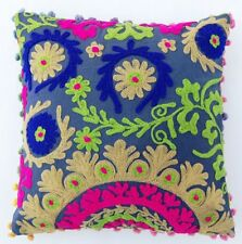 "Uzbek Suzani Cushion Cover 16x16"" Embroidery Cotton Home Decor Pillow Case COVE"