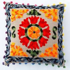 Embroidery Suzani Cushion Cover 16x16 Decorative Cotton Throw Pillow Case COVER