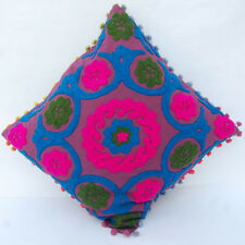 "Indian Handmade Embroidered Suzani Cushion Cover 16""Vintage Suzani Pillow_Case1C"