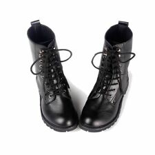 Women Combat Punk Martin Boots Military Army Black Short Lace-up Flat Shoes New
