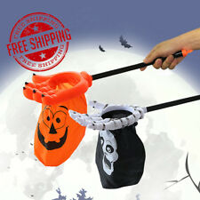 New Halloween Candy Storage Bag Holder Stick Kids Pumpkin Skull Gift Bag Party