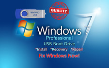 Windows 7 Professional USB Boot Drive 32/64bit INSTALL RECOVER REPAIR UPGRADE PC
