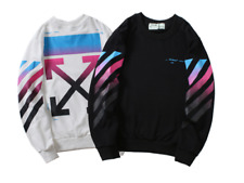 2018 Brand New Off White Men Women Sport Hoodie Color Stripes Sweatshirts