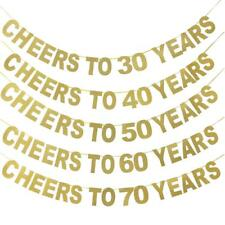 Gold Happy Birthday Bunting Banner 10th 20th 30th 40th 50th 60th Party Decor 3M