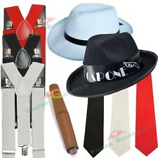 Mens Gangster Mafia Hat Braces Tie Cigar 1920s Fancy Dress costume Stag outfit