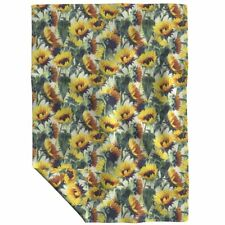 Throw Blanket Sunflower Floral Golden Yellow Sunflowers Painted 48 x 70in