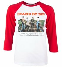 Official Stand By Me Rail Tracks White And Red Raglan Baseball T-Shirt