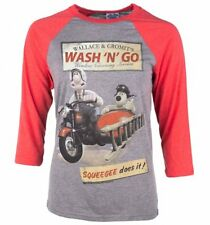 Official Wallace And Gromit Wash N Go Heather Grey And Red Raglan Baseball T-Shi