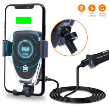 Qi Wireless Automatic Clamping Fast Car Charger Mount Holder 2-USB Port Charger