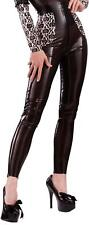Bordelle-L'Amour Smoochy Latex Leggings, Semi-Trans Black with Baby Pink Trim.
